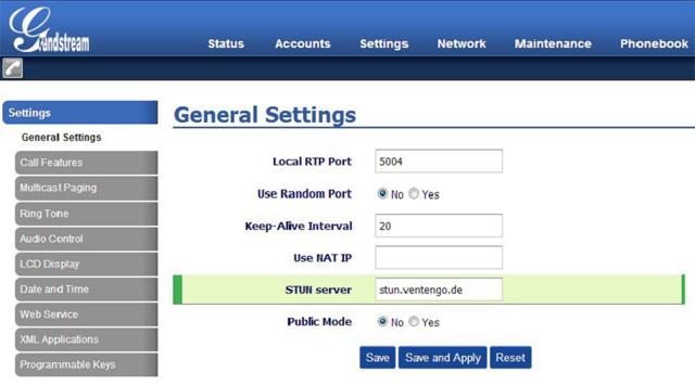 Ventengo - Voice over IP Verbindung über Grandstream